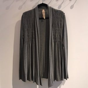 Bailey 44 open front cardigan with shirred top